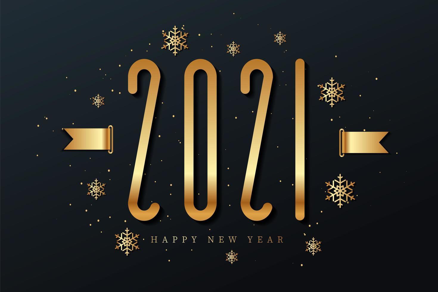 Frohes neues Jahr 2021 mit Schneeflocken vektor