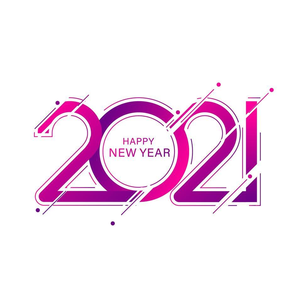 rosa gott nytt år 2021 vektor