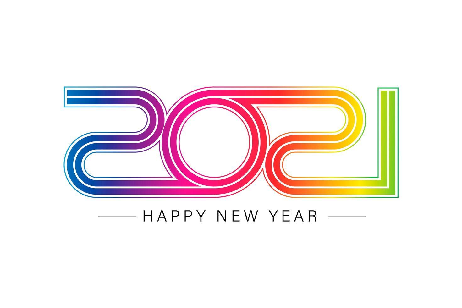 glad ny 2021 år elegant guldtext med ljus vektor