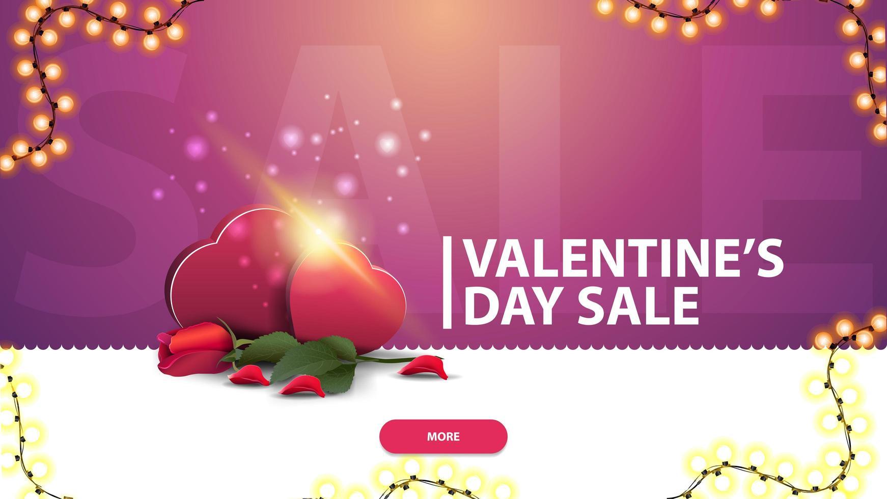 Alla hjärtans dag försäljning, rosa rabatt banner för webbplats vektor