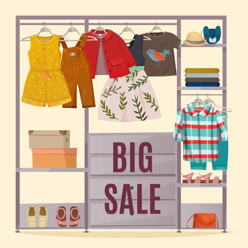 großer Verkauf Kleidung und Kleiderschrank Banner vektor