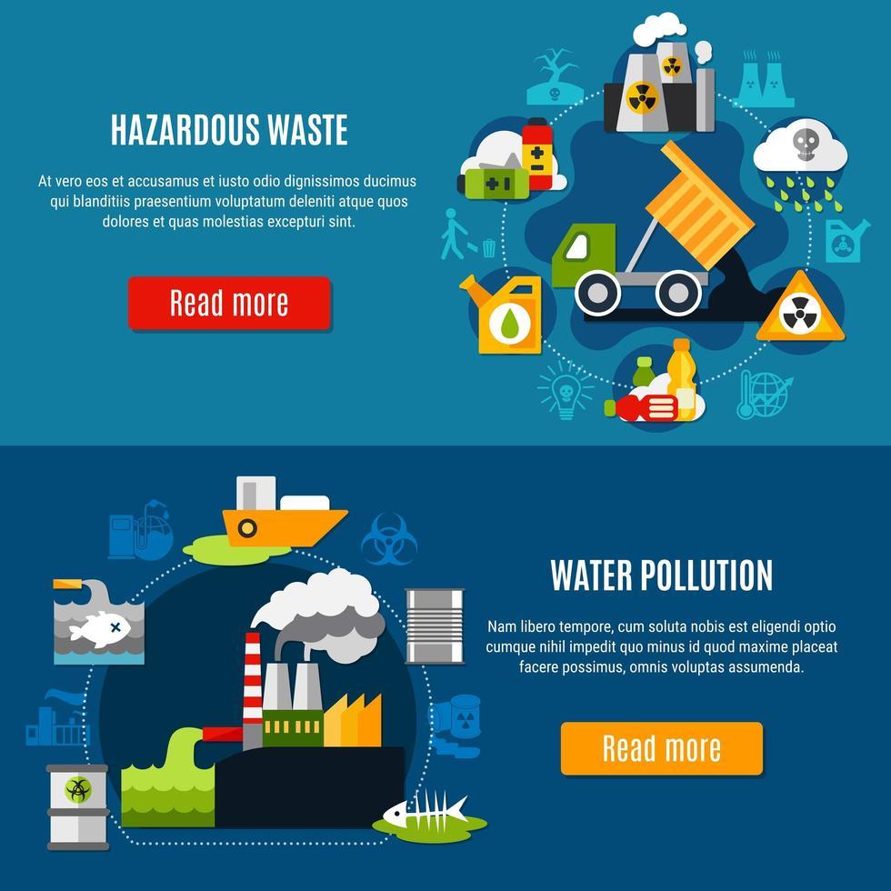 Verschmutzungs- und Abfallbannerset vektor