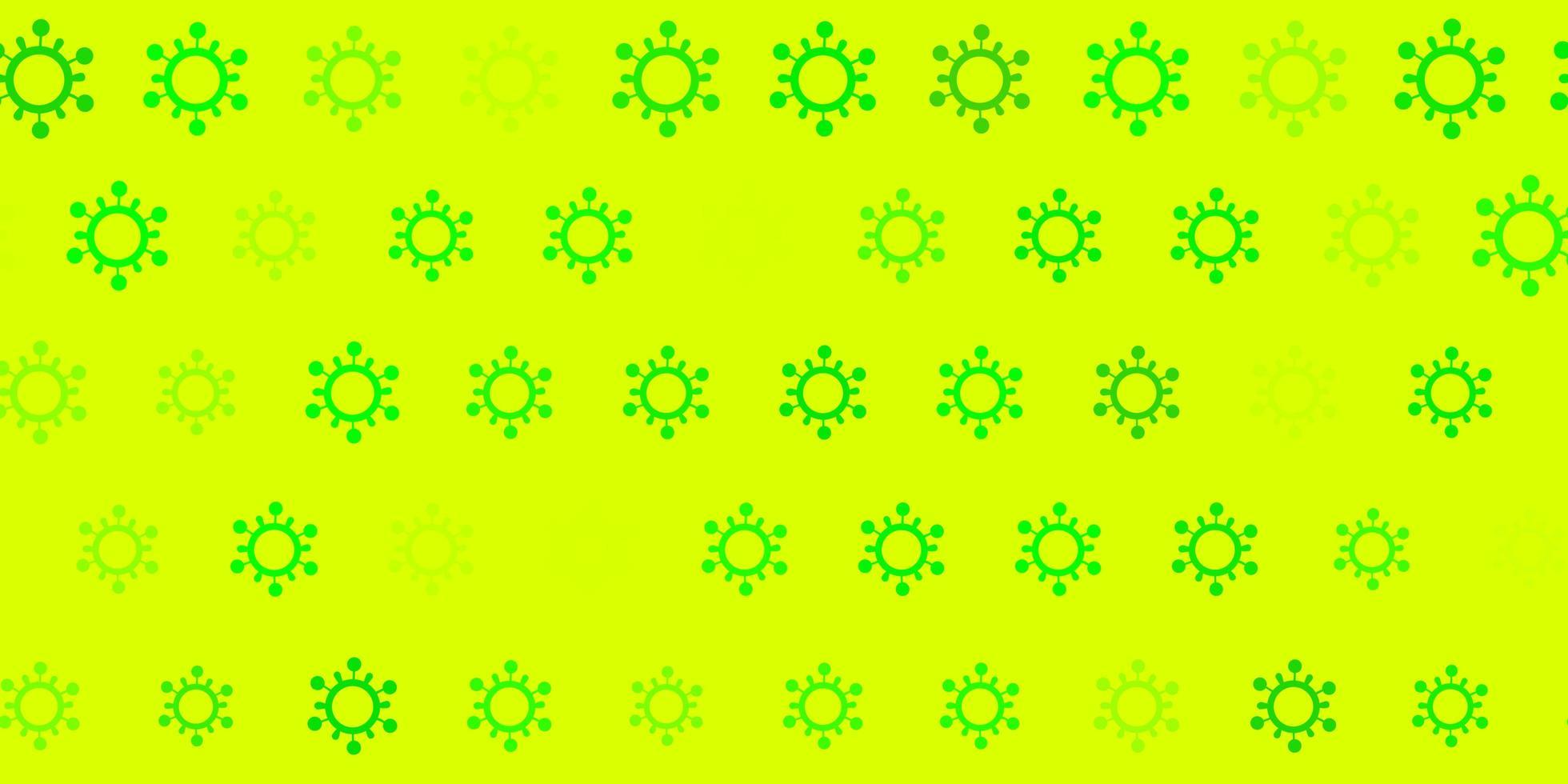 grüner Hintergrund mit Covid 19 Symbolen. vektor