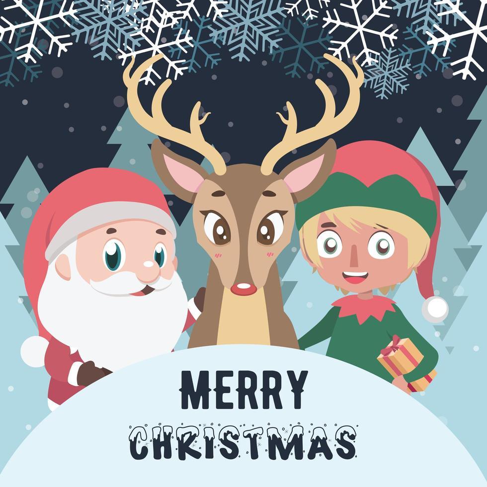 Frohe Weihnachten mit Weihnachtsmann, Elfe und Rentier vektor
