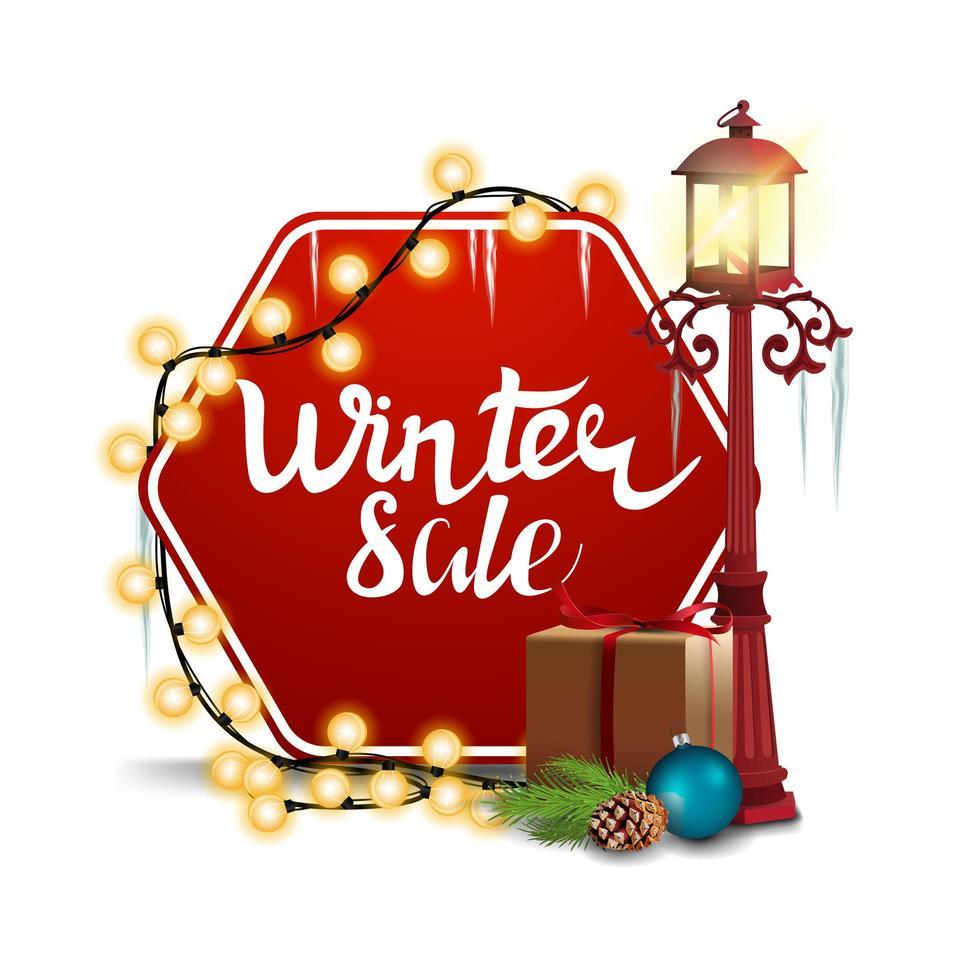 Winterschlussverkauf, rotes sechseckiges Rabattbanner vektor