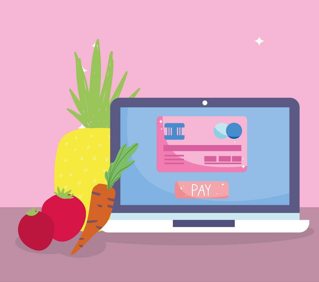online-marknad via dator med kreditkort vektor