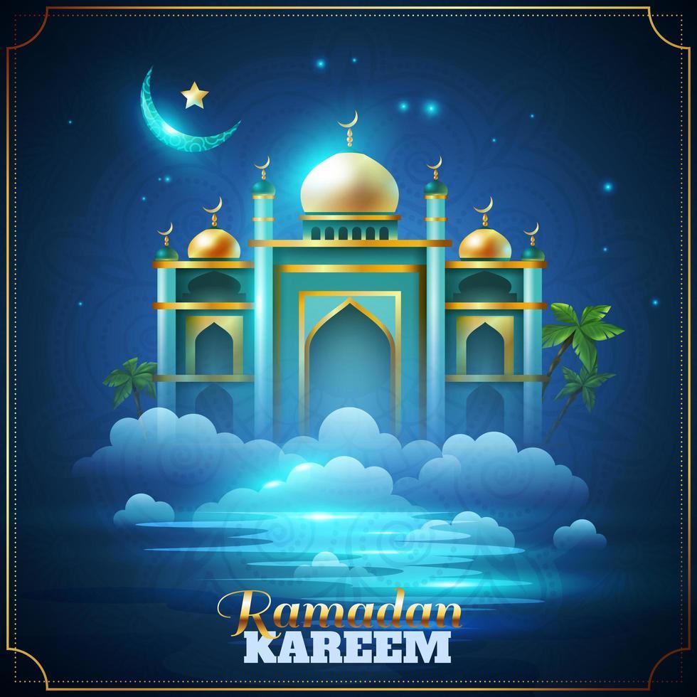 realistisk ramadan kareem firande affisch vektor
