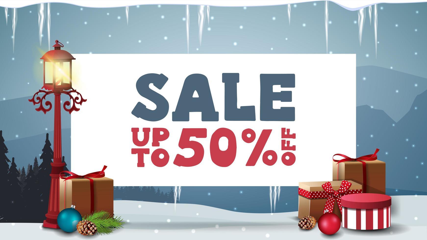 Weihnachtsverkauf, Rabatt-Banner mit weißem Blatt Papier vektor