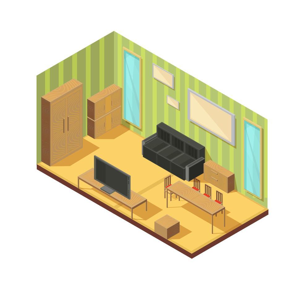 isometrische Zusammensetzung des Innenraums des Wohnzimmers vektor