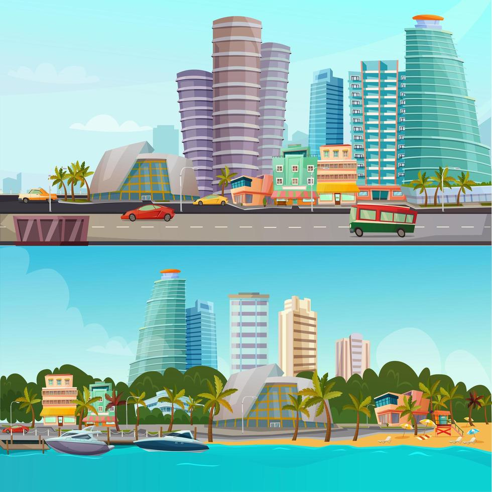 Miami Waterfront Cartoon Banner Set vektor