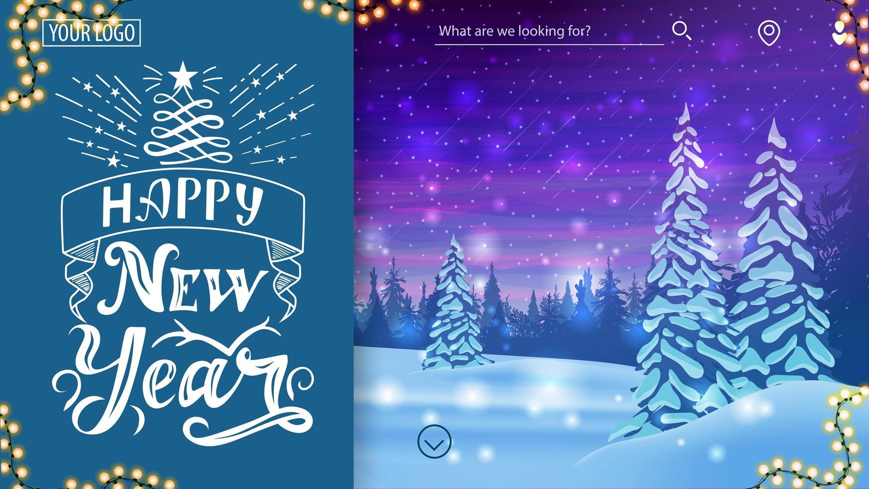 Frohes neues Jahr, Grußpostkarte für Website vektor