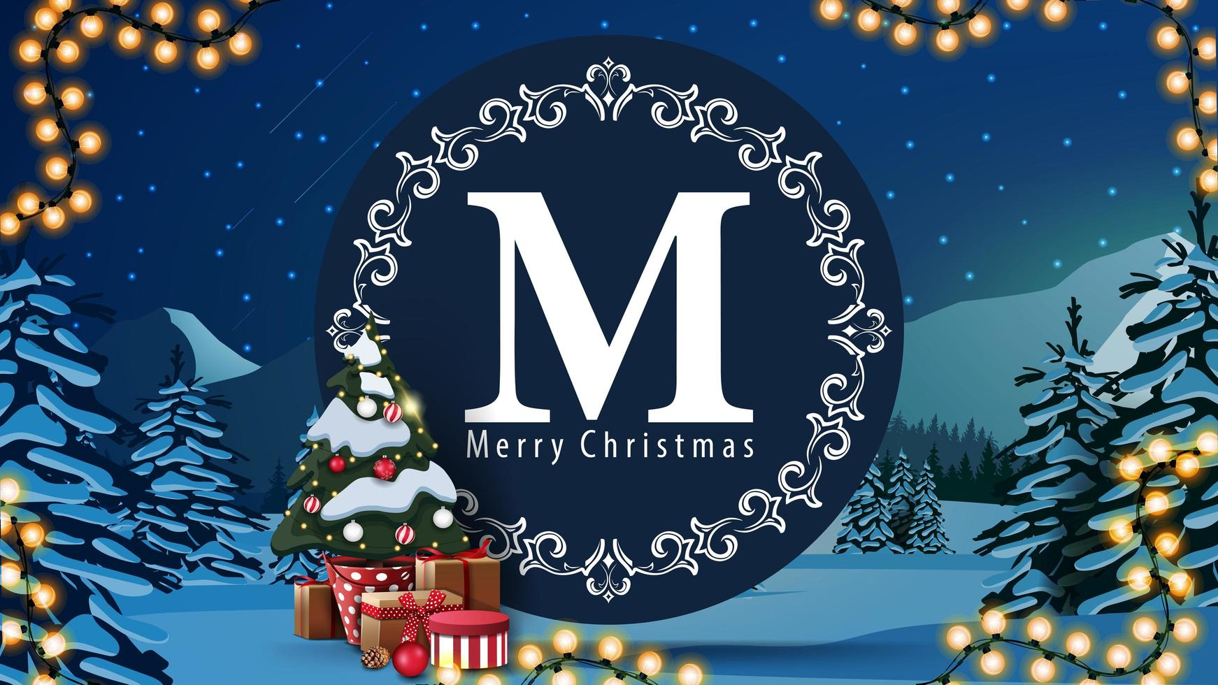 Weihnachtspostkarte mit rundem Logo vektor