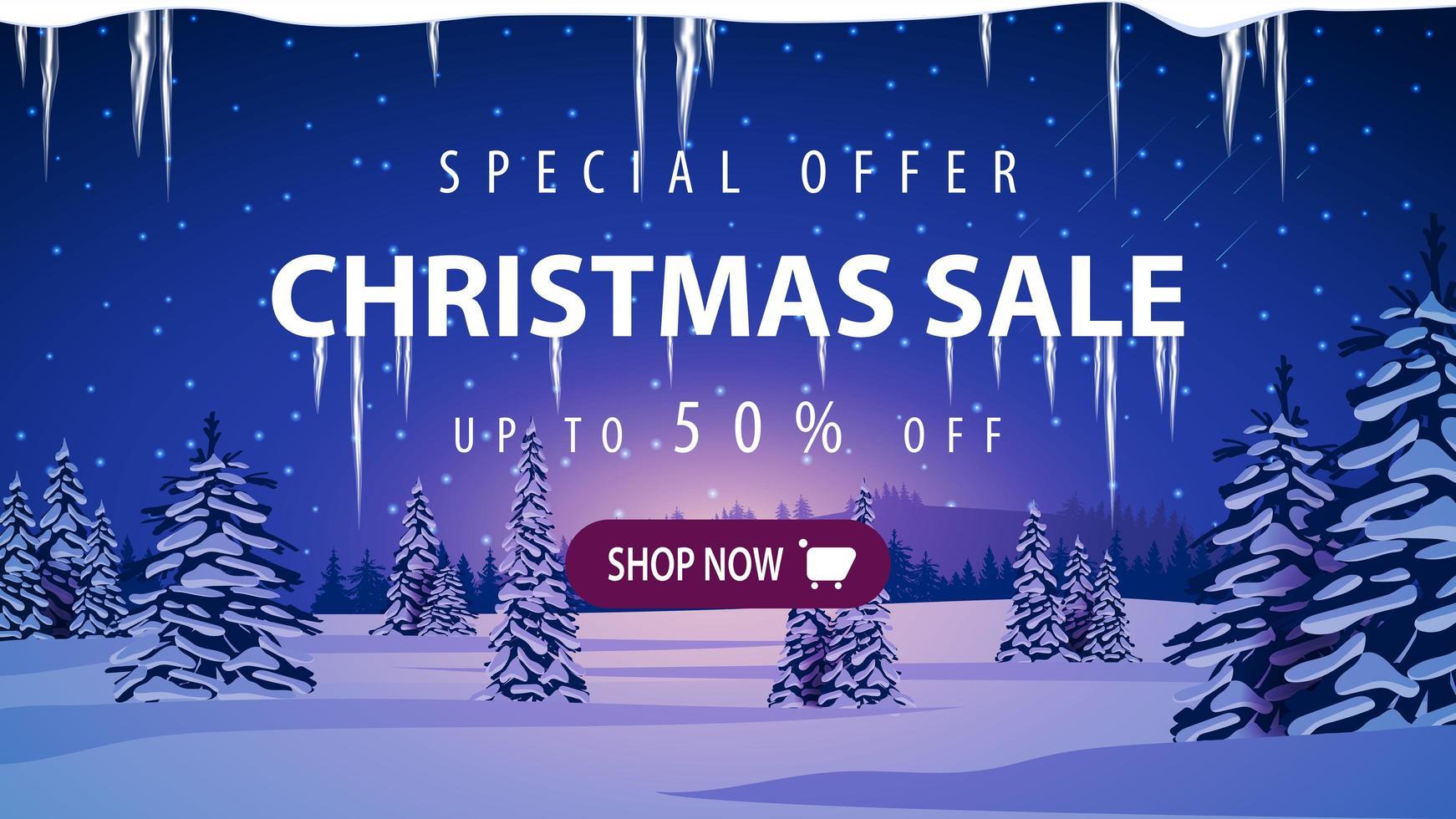 jul försäljning, rabatt banner med vinterlandskap vektor