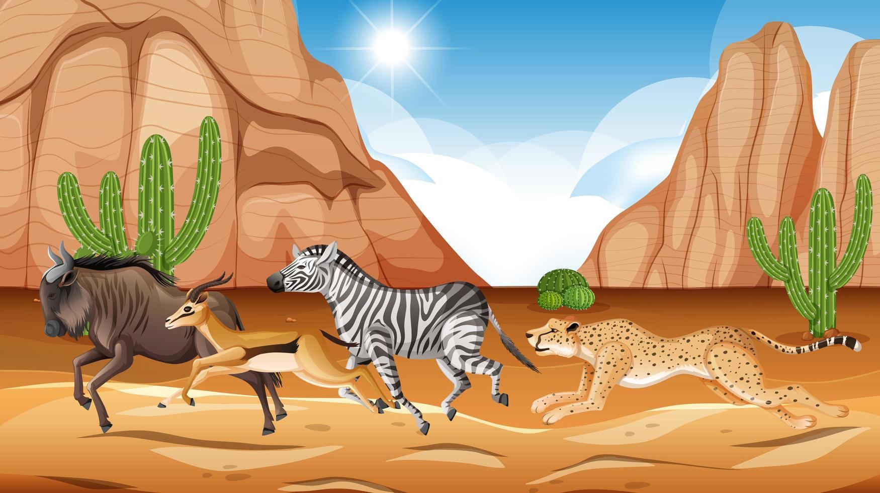 vilda djur som kör savann vektor