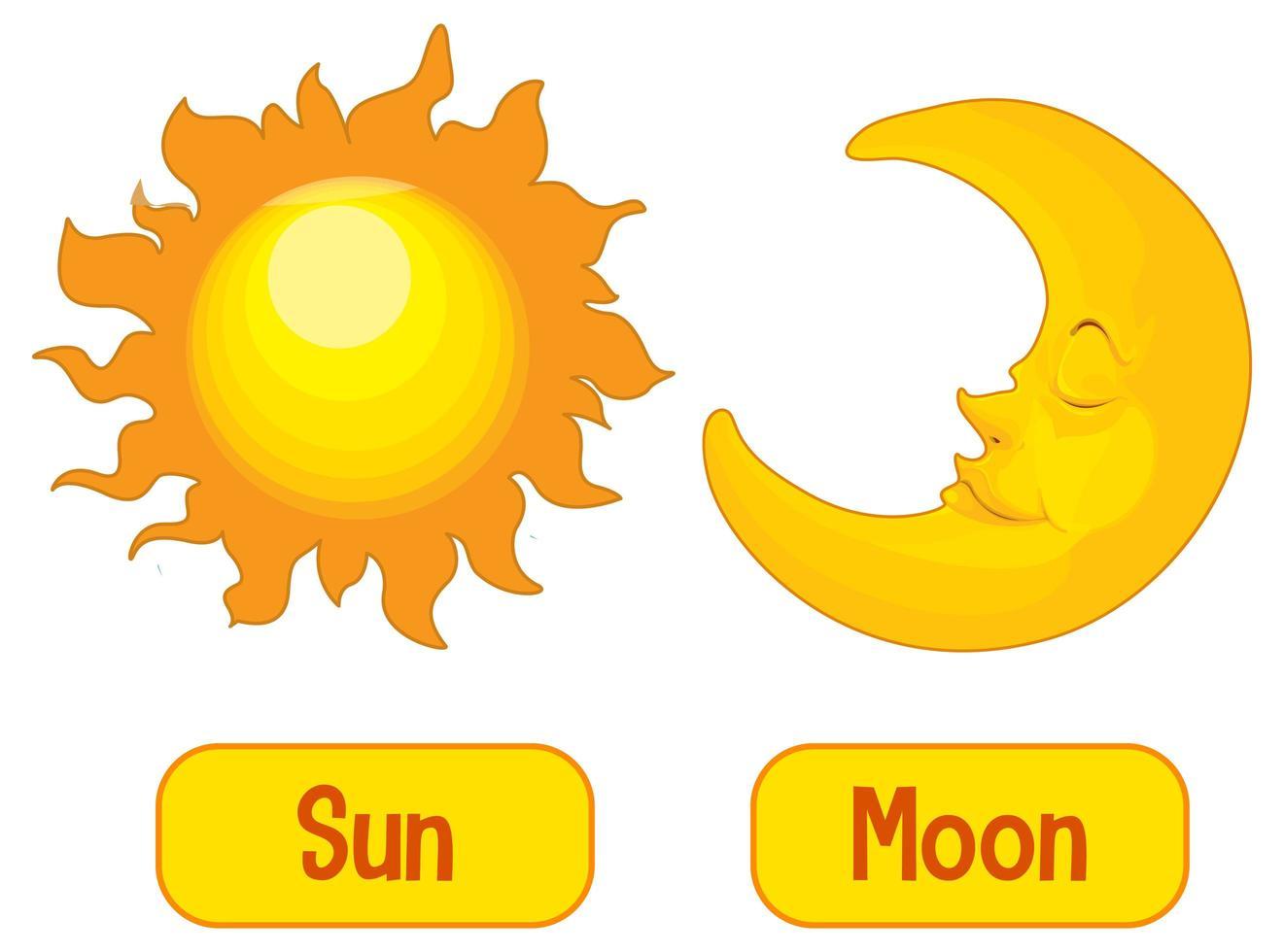 entgegengesetzte Wörter mit Sonne und Mond vektor