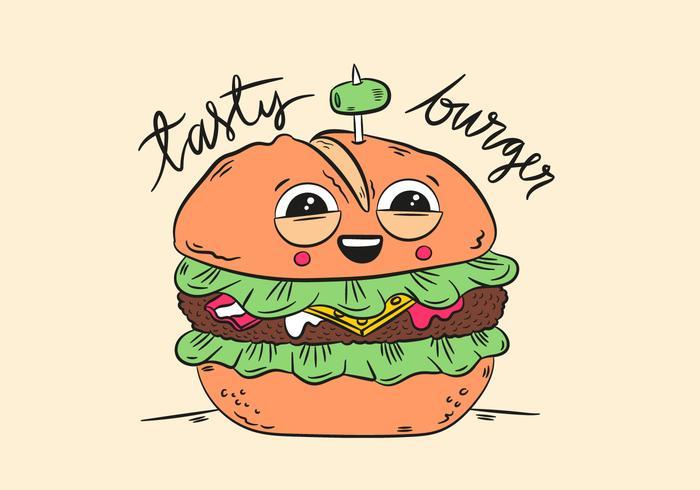 Netter Charakter Burger Lächeln Mit Zitat vektor