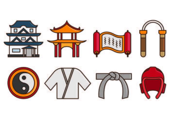 Set von Dojo Icons vektor