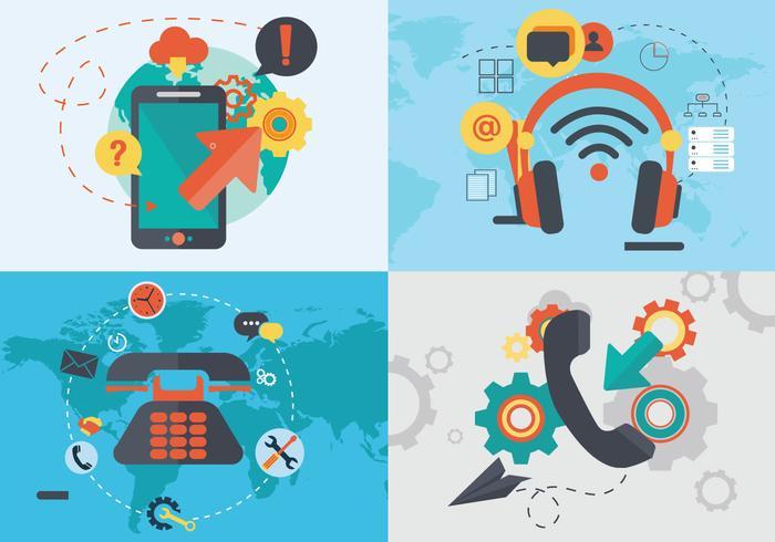 Internet Telefon Digital Kommunikation Flat Vector