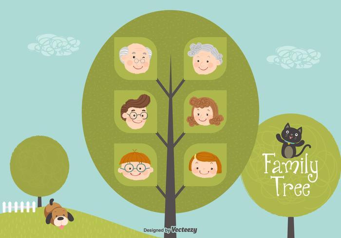 Cute Cartoon Family Tree Vector