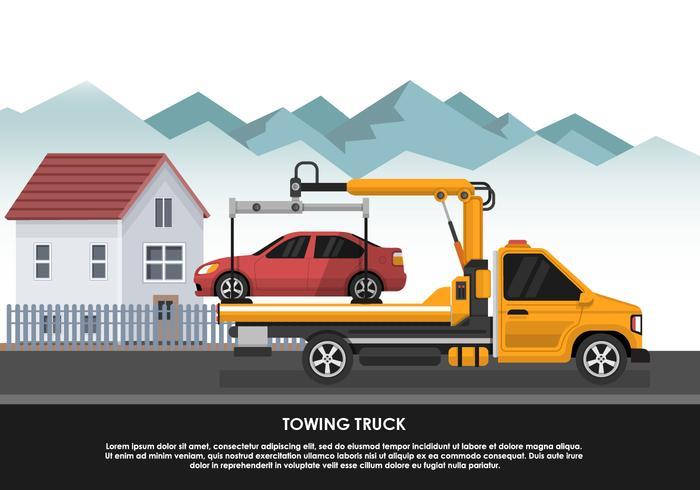 Bogsering Truck Transport Nödbil Vector Illustration