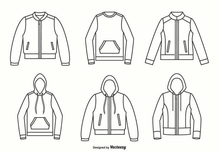 Jackor, Hoodies Och Sweater Outline Vector Design