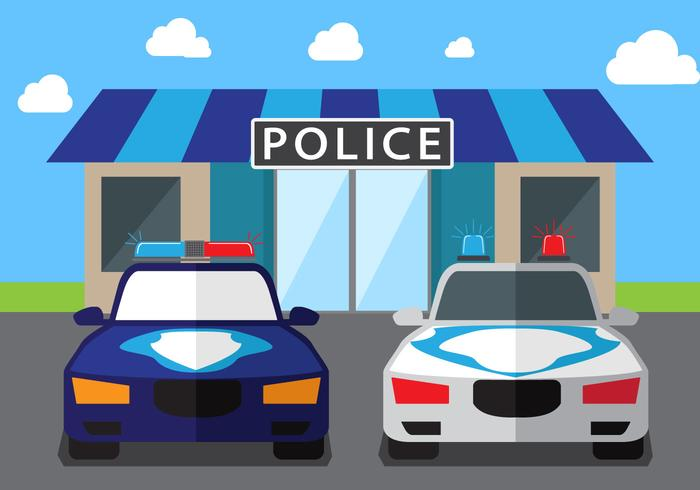 Polis Bil Vector Bakgrund
