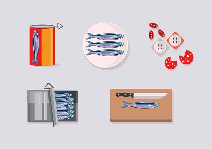 Sardine im Koffersatz vektor