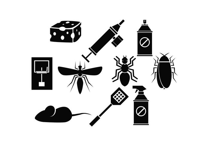 Exterminator Silhouette Icon Set Vektor