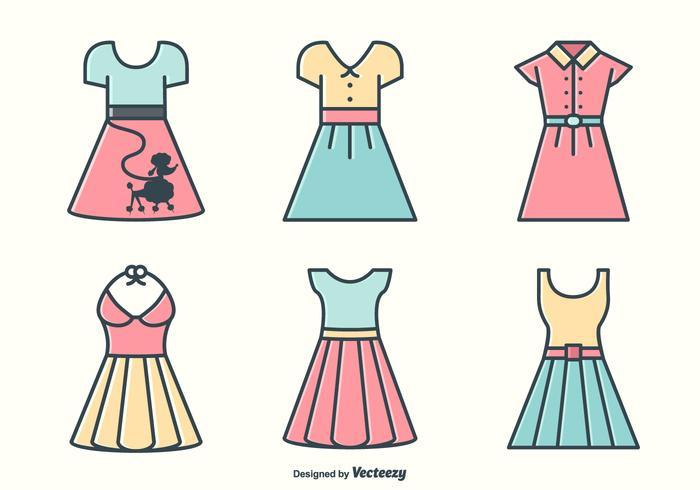 Retro Fünfzigerjahre Kleider und Röcke Vektoren