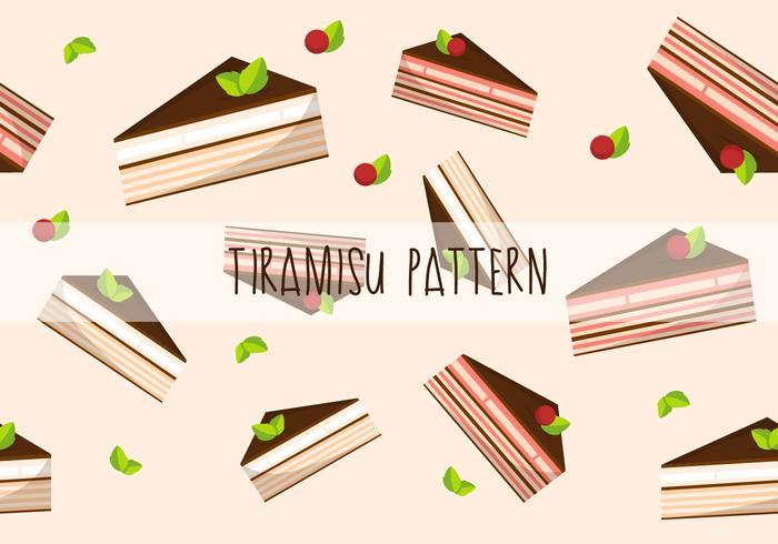 Tiramisu tårta platt vektor mönster