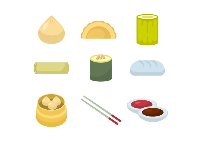 Asian Food and Dumplings Vector Collection