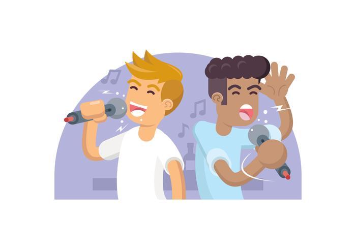 Två Vänner Singing Karaoke Illustration vektor
