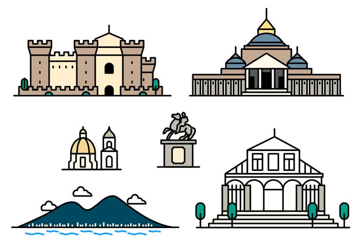 Napoli landmärke ikon vektor