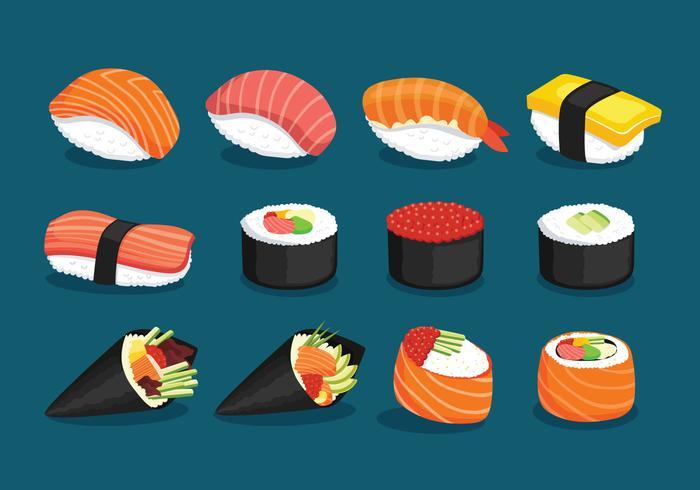 Vielzahl von köstlichen Sushi vektor