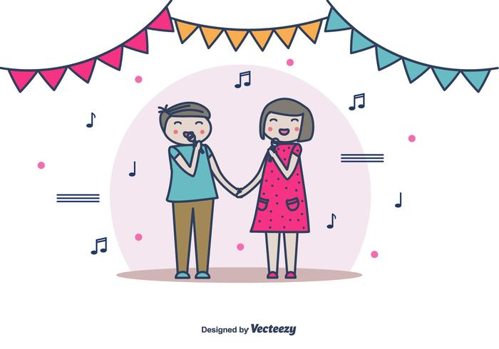 Paar Singen Vektor