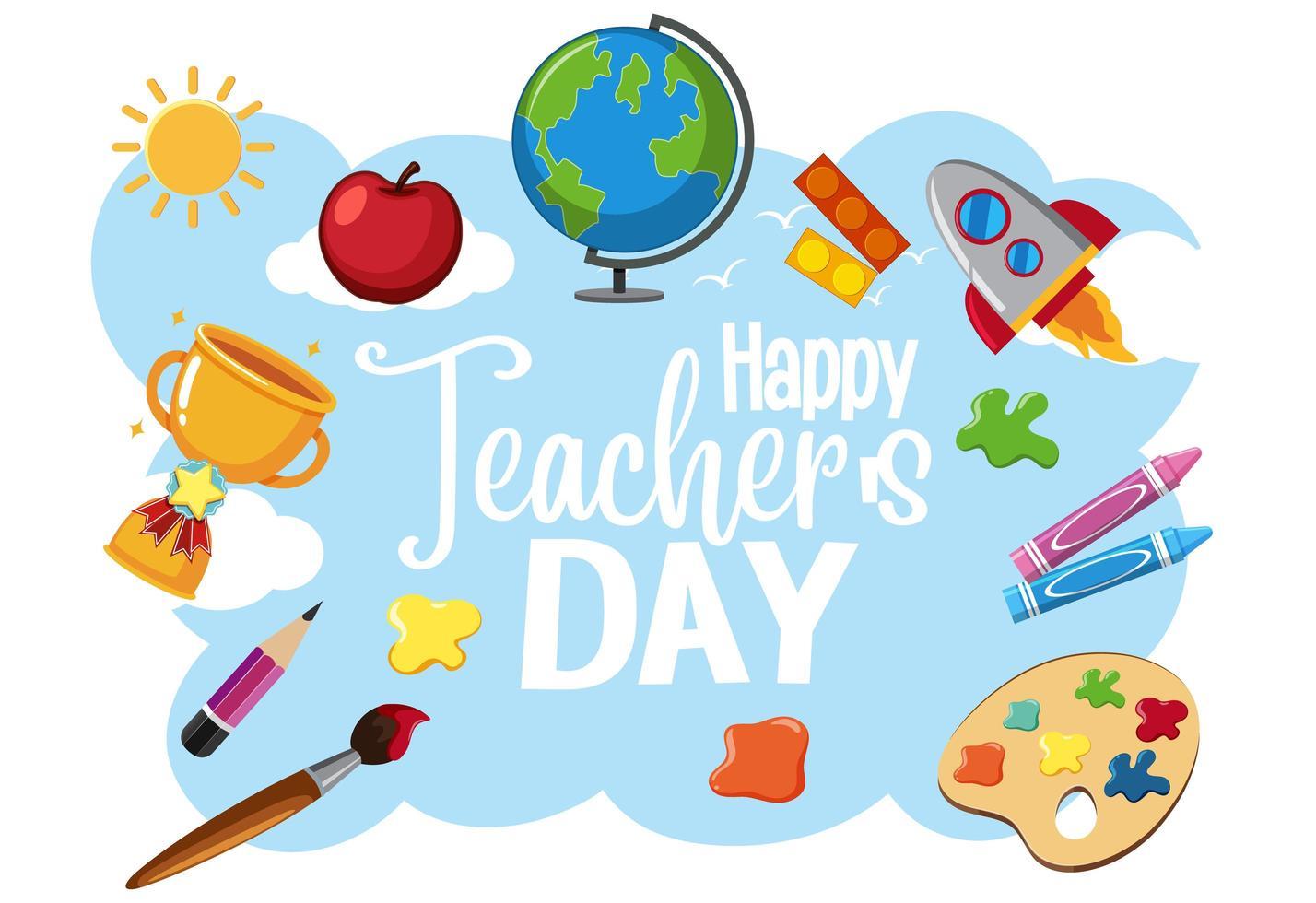 glad världslärares dagslogotyp med studentartiklar vektor