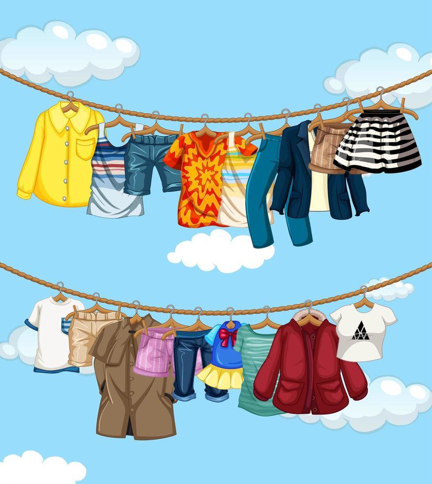många kläder hängande på en linje på blå himmel bakgrund vektor