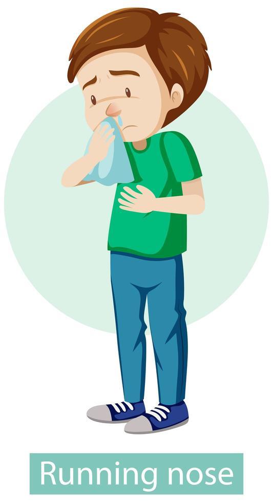 Zeichentrickfigur mit Symptomen der laufenden Nase vektor