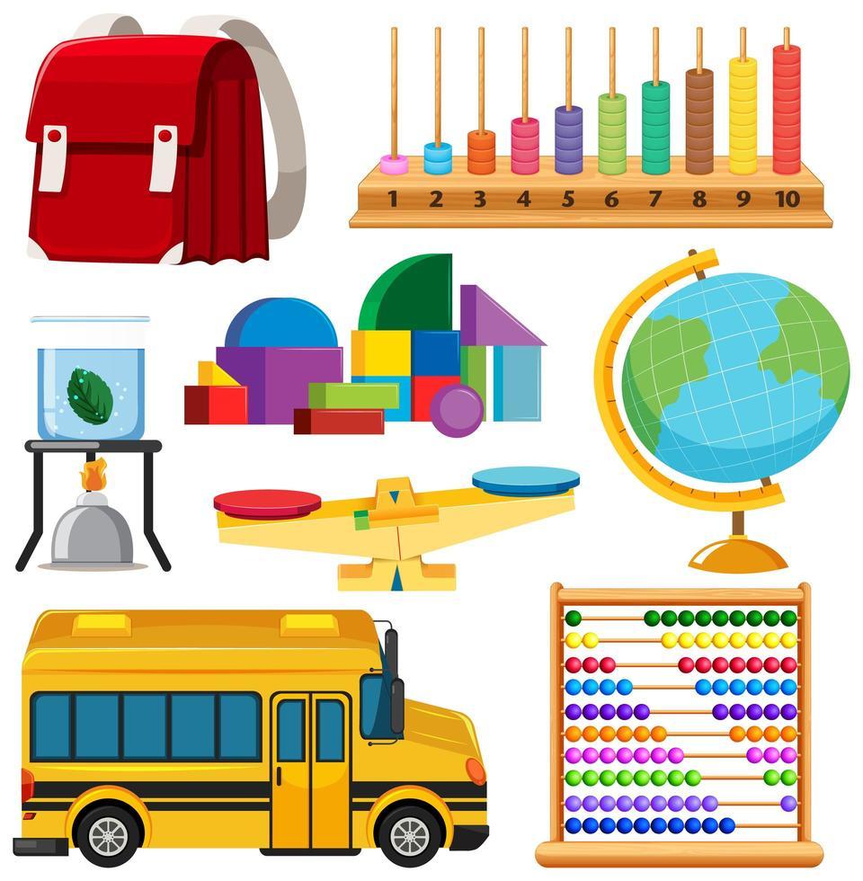 uppsättning stationära verktyg och skola vektor