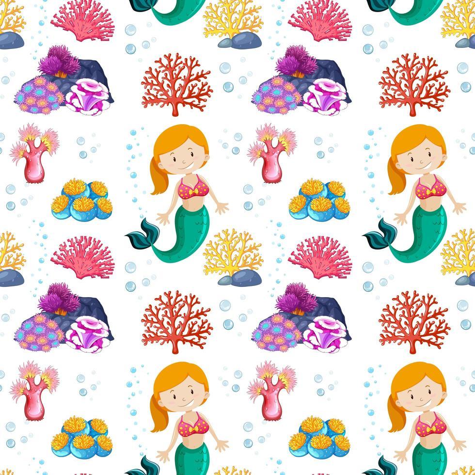 sjöjungfru sömlöst mönster med havstema vektor