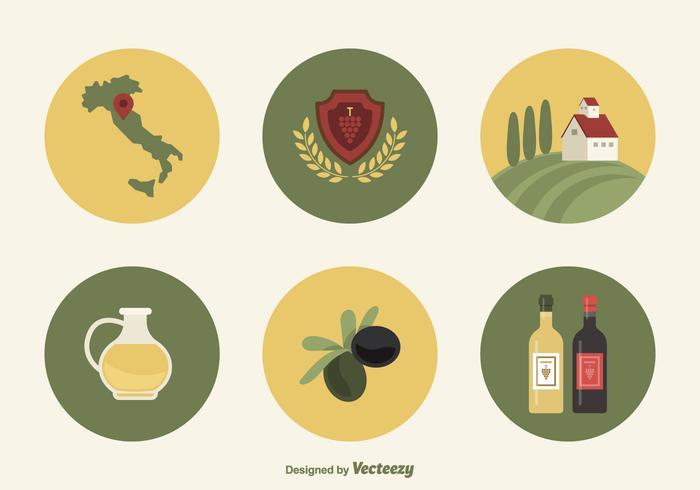 Flache Wein- und Oliven-Ikonen aus der Toskana Italien vektor