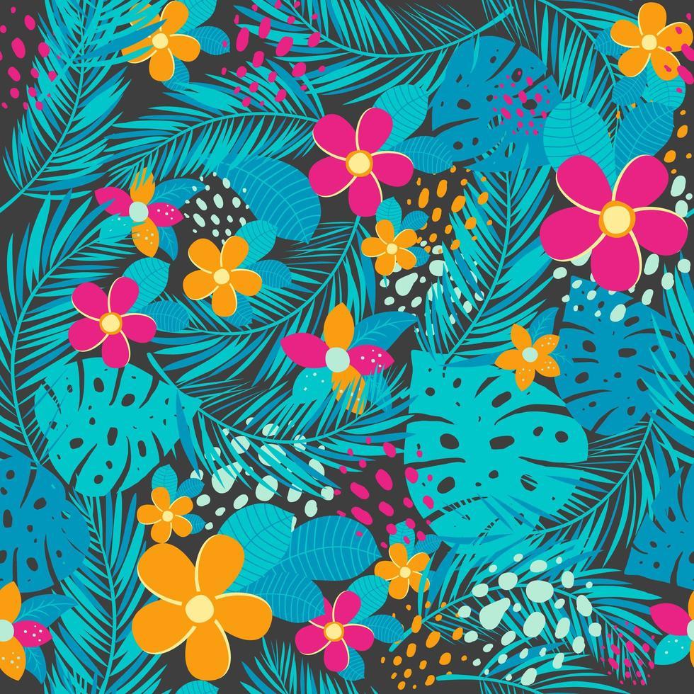 tropiskt sömlöst mönster med palmblad och blommor vektor