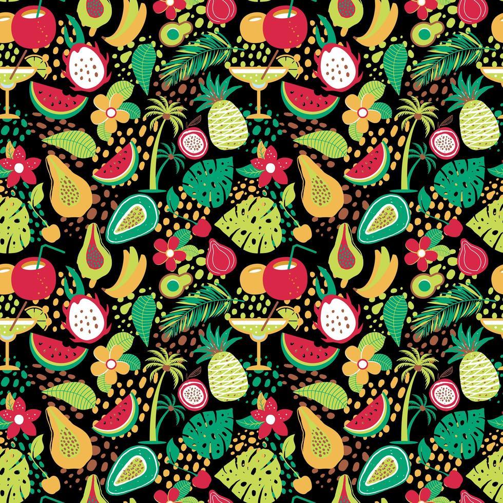 hawaiianskt mönster med tropiska frukter och blommor vektor