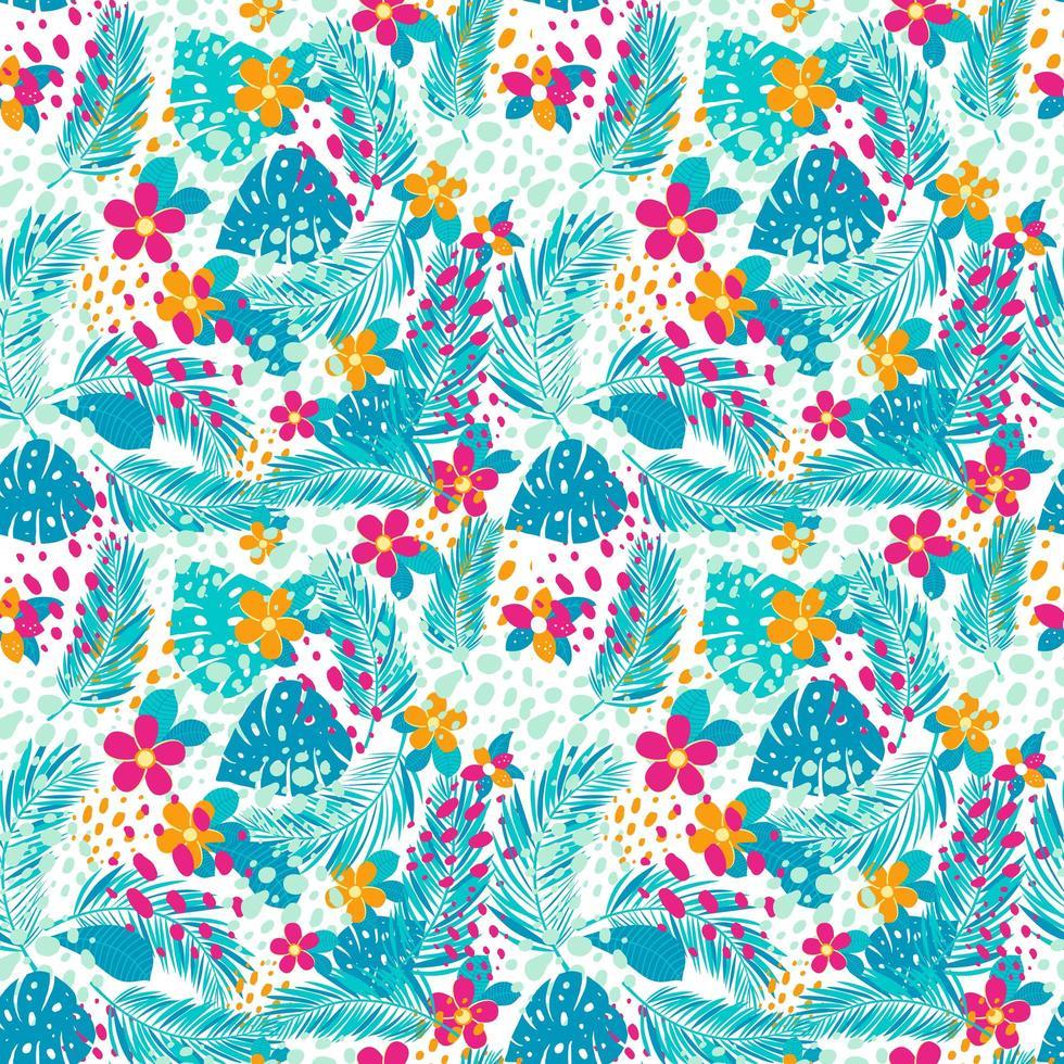 tropiskt mönster med palmblad och blommor vektor