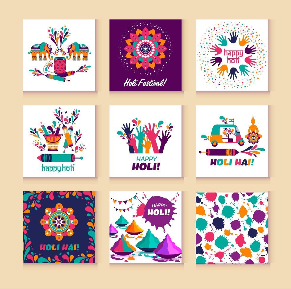 glad holi vektorelement för kortdesign, glad holi design med färgglad ikon på 9 kort vektor