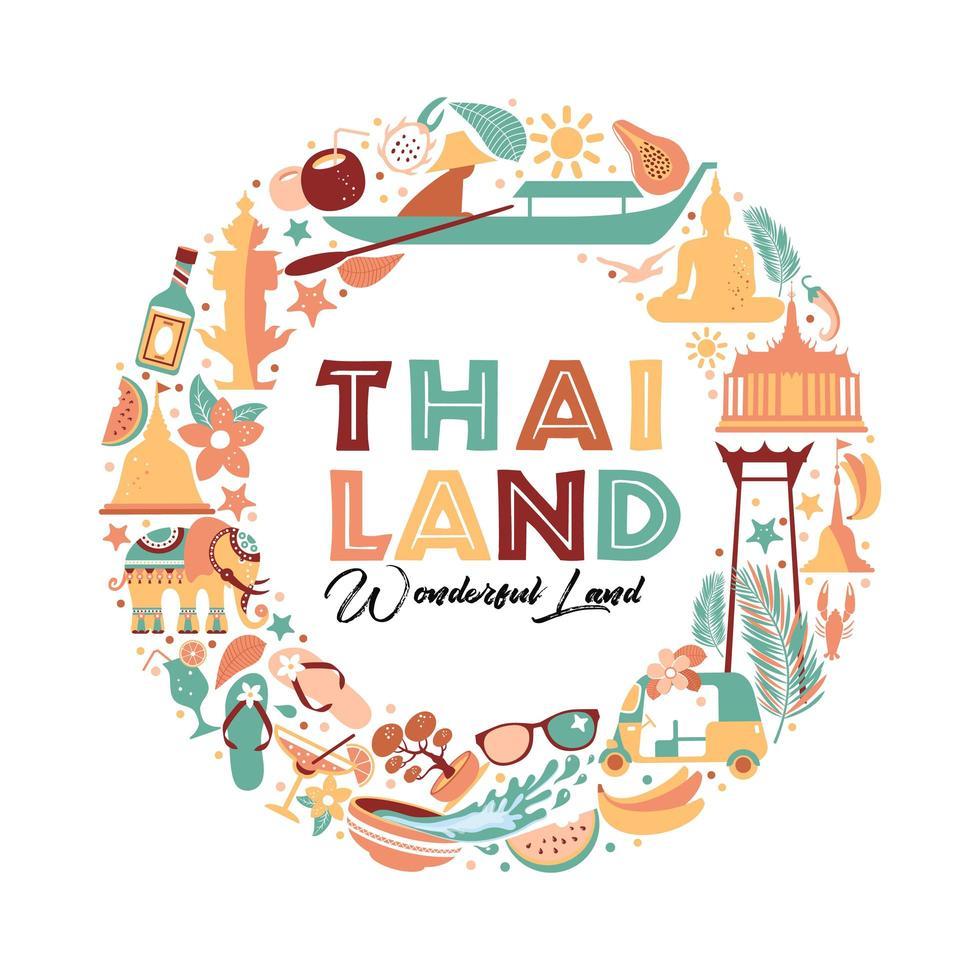 samling av thailand symboler i krans vektor