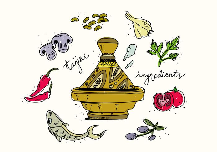 Traditionella Tajine Food Ingredients Handdragen Vector Illustration