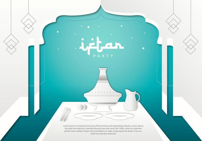 Iftar Party Tajine Bakgrundsmallvektor vektor