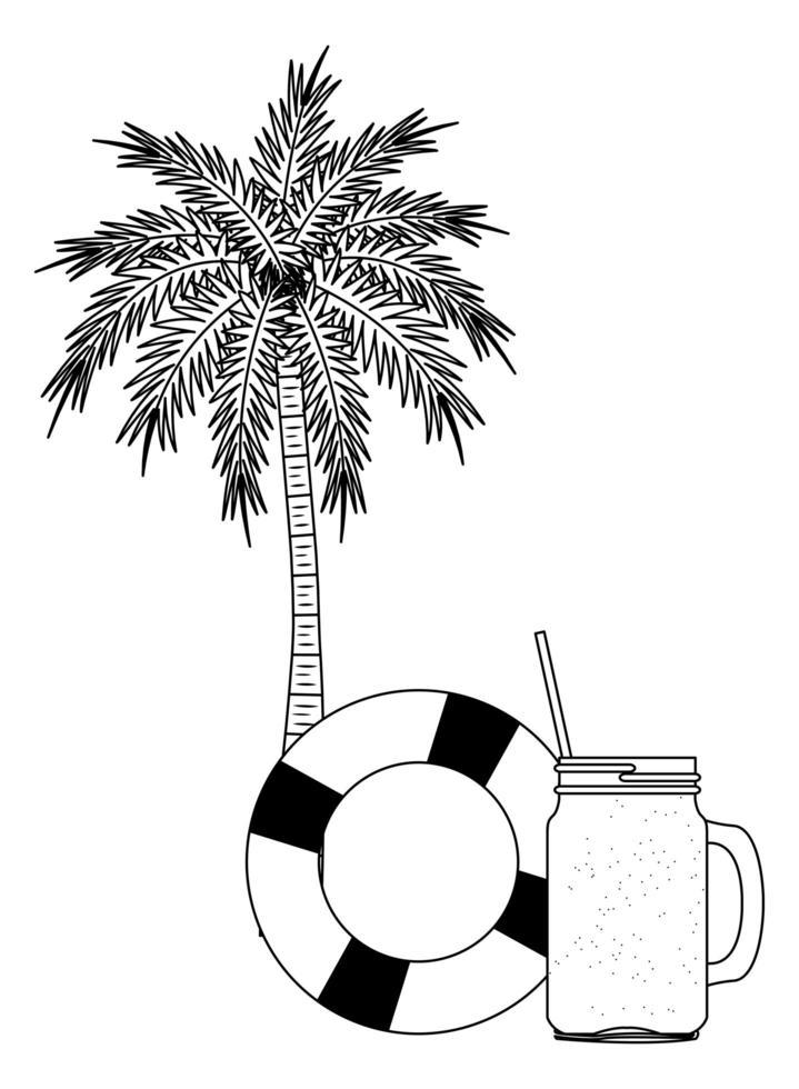 sommarstrand och semestertecknad film i svartvitt vektor
