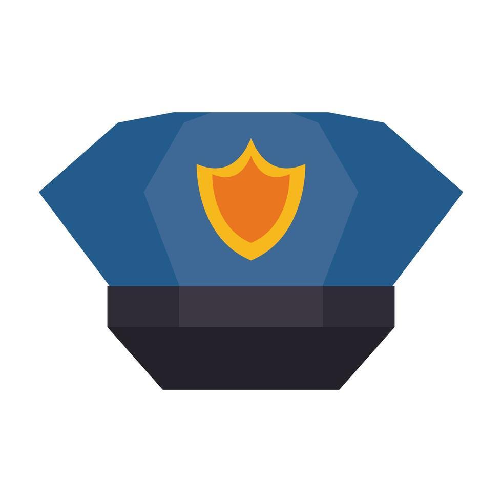 polis mössa med badge flat ikon vektor